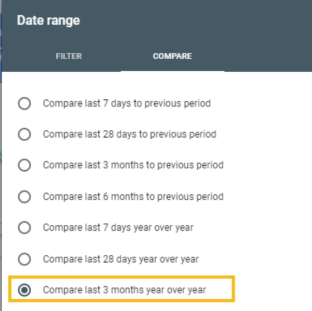 "To capture the largest amount of year over year data, select ""Compare last 3 months year over year""."