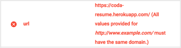 All values provided must have the same domain