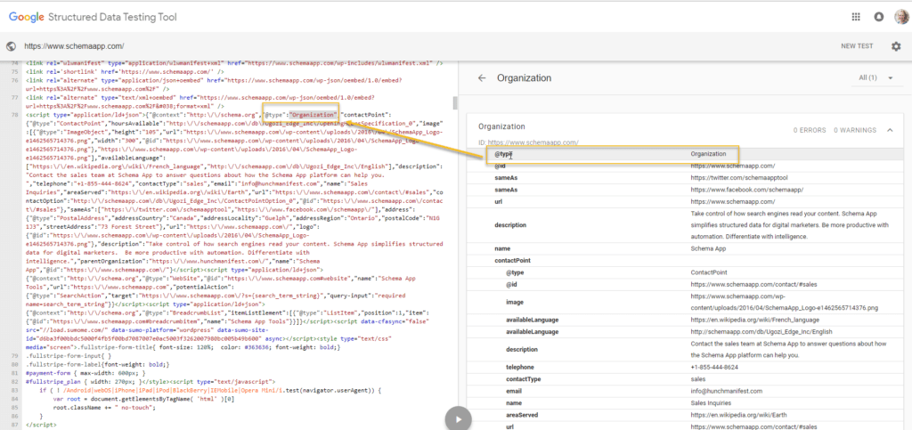 Observe what Schema Markup is on the page