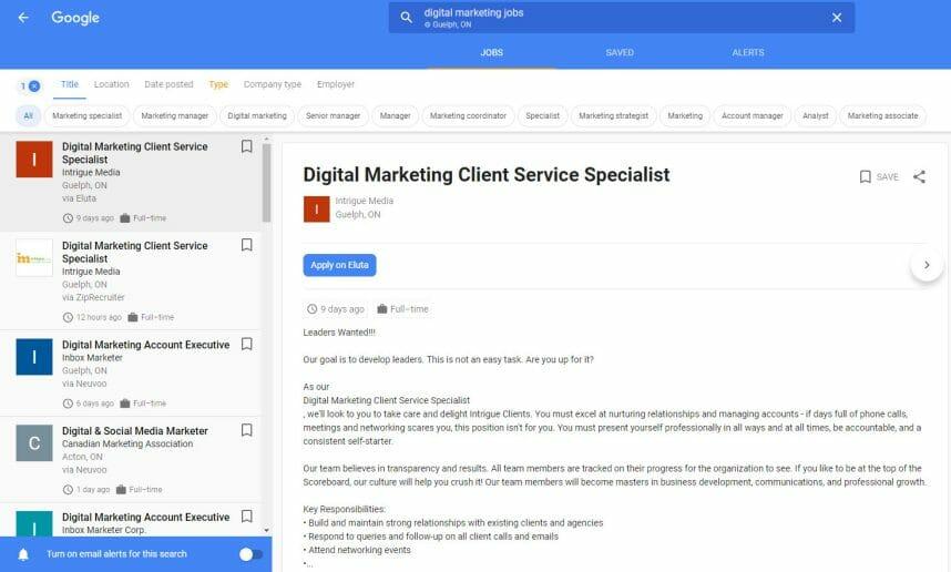 Digital Marketing Client Service Specialist Job Posting