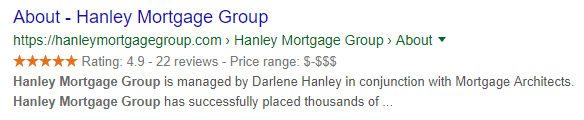 Hanley Mortgage Group Rich Result