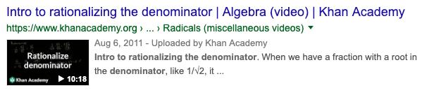 Rationalizing Denominator search result