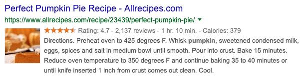 Pumpkin Pie search result