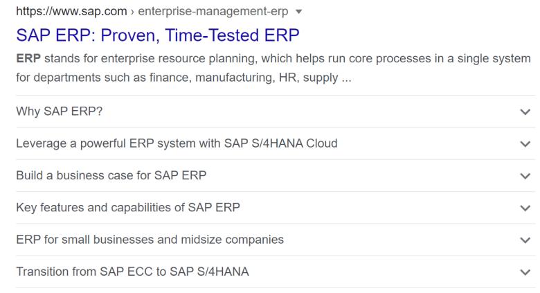 SAP ERP FAQ Rich Result