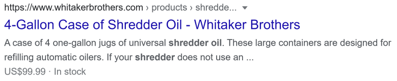Whitaker Brothers Shredder Oil Product Rich Result