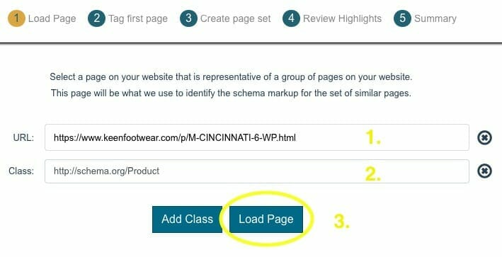 """Inser a URL, select the Product class, and click """"Load Page"""""""