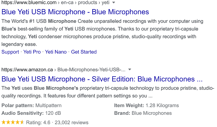 Blue Yeti USB Microphone Search Engine Results Page Comparison