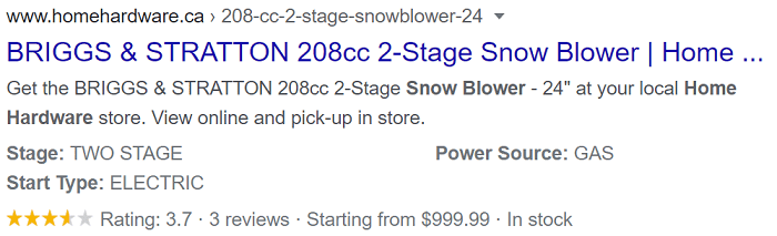Home Hardware Snowblower Product Rich Result