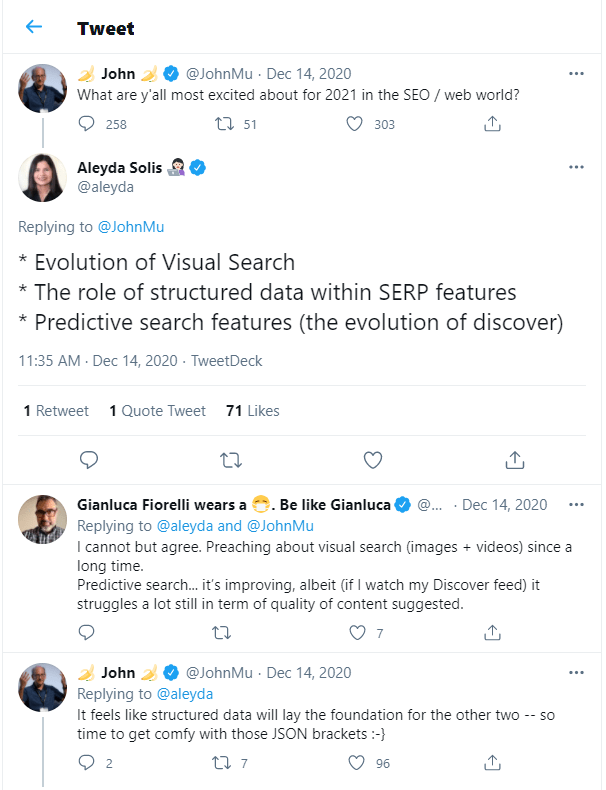 John Mueller Twitter SEO and Structured Data 2021