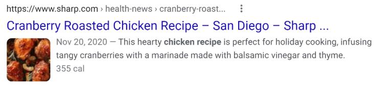 Sharp Recipe Rich Result