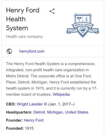 Henry Ford Health System Desktop Knowledge Panel