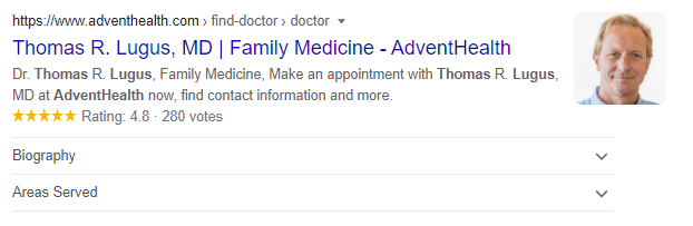 AdventHealth Physician Rich Result