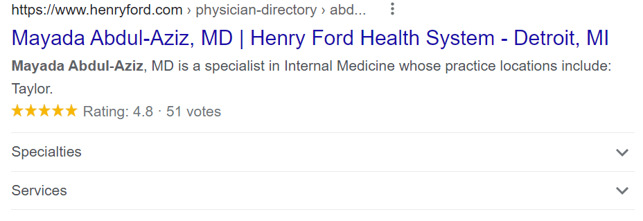 Henry Ford Physician Rich Result